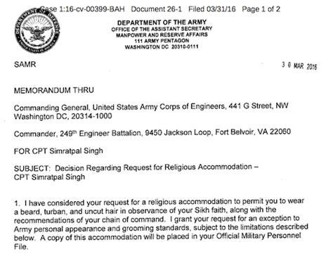 Permission Letter To Keep Beard Us Army Sikh Officer Can Keep Turban Beard On Active Duty Asia Samachar