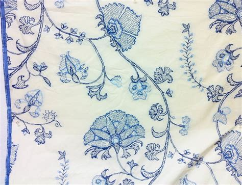 blue white upholstery fabric gorgeous embroidered jacobean floral blue white upholstery