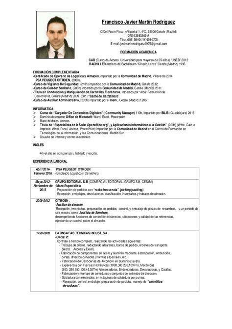 Modelo De Curriculum Vitae De Jefe De Almacen Cv Francisco Javier 2016 Copia