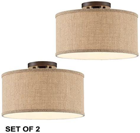 burlap drum shade ceiling light 2 pcs adams bronze burlap drum shade ceiling light l