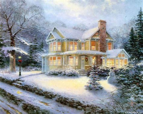Thomas Kinkade Christmas Village Home For HD Wallpaper