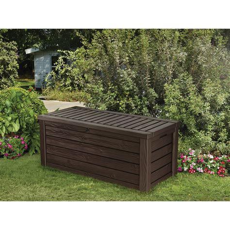 keter 150 gallon patio storage bench deck box keter westwood 150 gallon resin deck box reviews wayfair