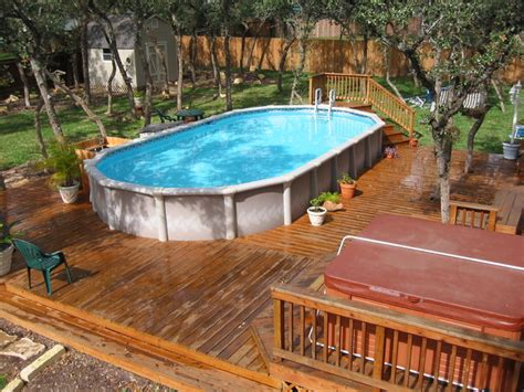above ground pool with deck design ideas landscaping