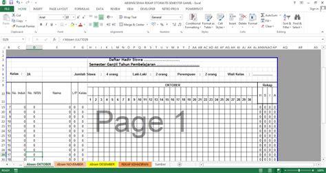 format rekap absensi siswa aplikasi absensi siswa format excel format guru