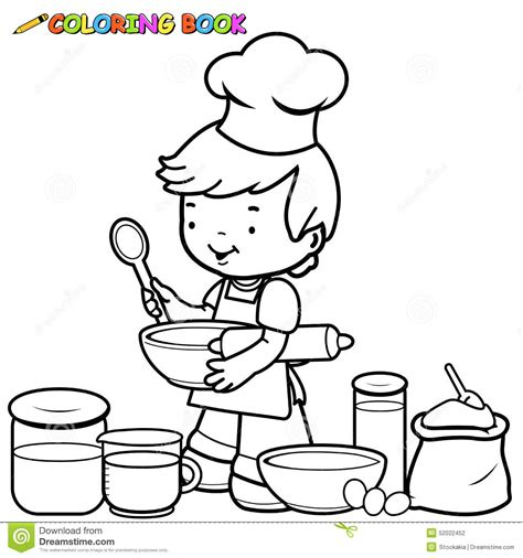 boy cooking coloring page stock vector image 52022452