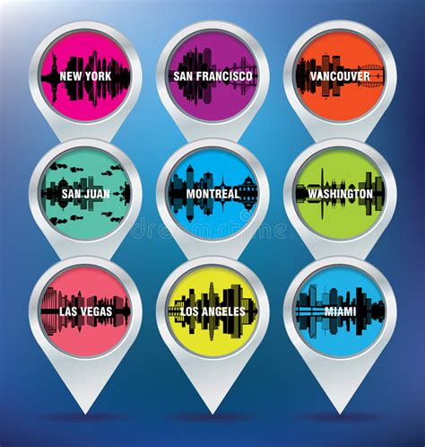 map san francisco vancouver map pins with new york san francisco vancouver stock