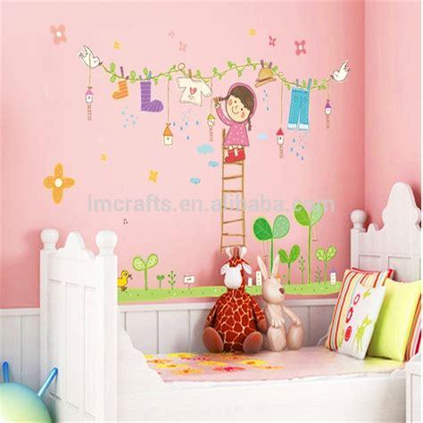 Wall Sticker Kartun Anak kartun gadis kecil jemuran stiker dinding anak anak kamar