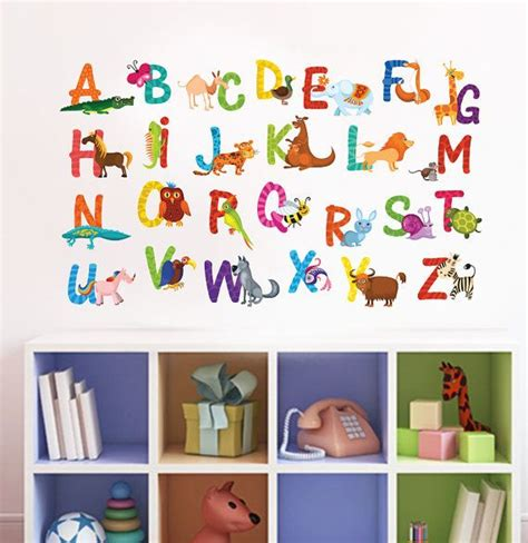 alphabet nursery wall decal playroom wall decal animal