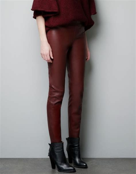 Gap Maroon Legging zara leather effect in maroon lyst
