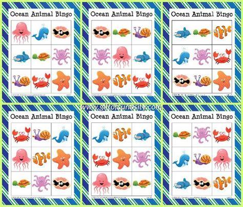 printable animal bingo ocean animal bingo free ocean printables game gifts