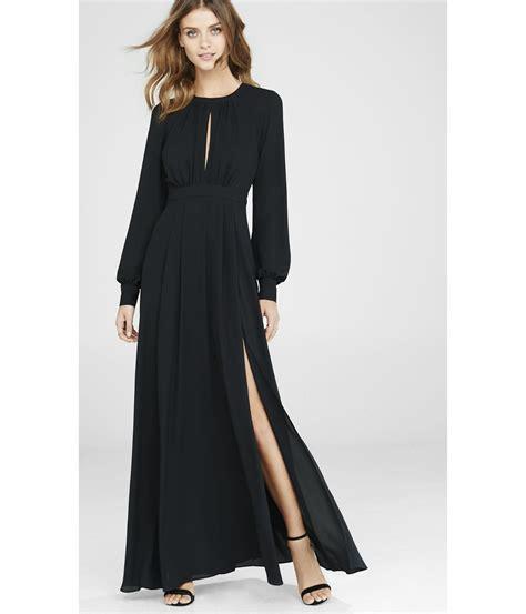 Sleeve Maxi Dress lyst express black poet sleeve maxi dress in black
