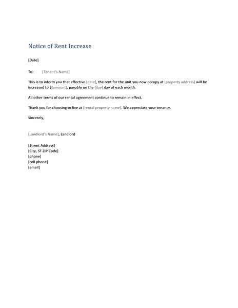 Month To Month Rent Increase Letter