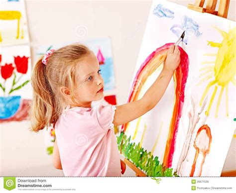 Child Painting At Easel Stock Image Image Of Paint 26671539 Children Painting Images