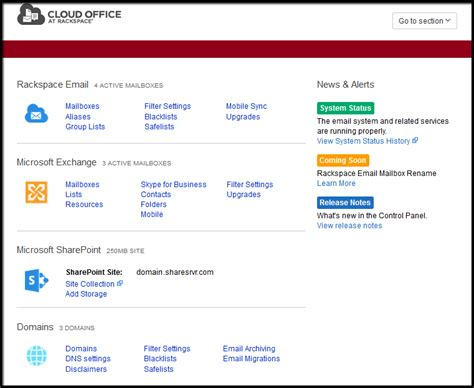 Rack Space Webmail by Rackspace Email Panel Overview