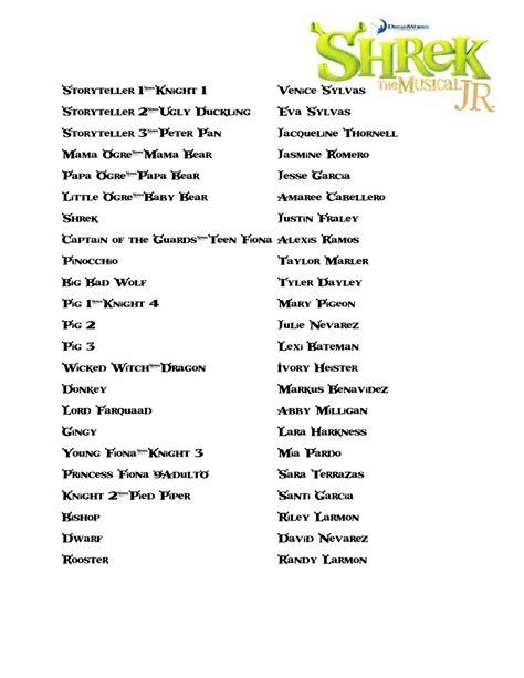Or Cast List Pics For Gt Shrek The Musical Broadway Cast List