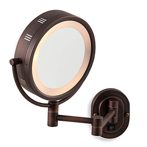 jerdon lighted magnifying mirror jerdon 5x 1x bronze lighted hardwired wall mount mirror