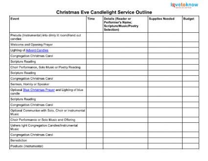 Candlelight Service Outline by Candlelight Service Outline Candles Caroldoey