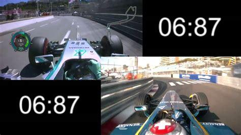 formula 3 vs formula f1 2014 vs formula e comparison monaco youtube
