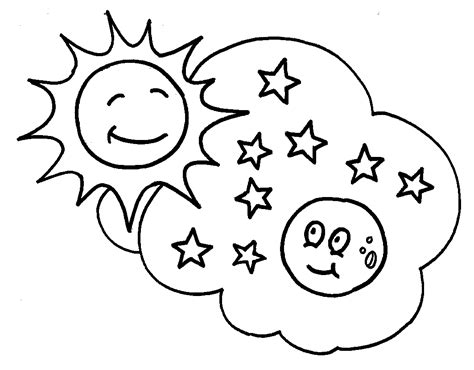 coloring page of sun moon and stars desenho de sol lua e estrelinhas para colorir tudodesenhos