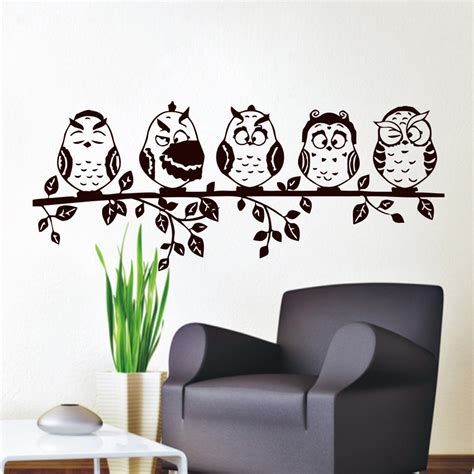 to see wall stickers aliexpress buy five coffee baby owl wall decal pvc waterproof hollow out home decor living