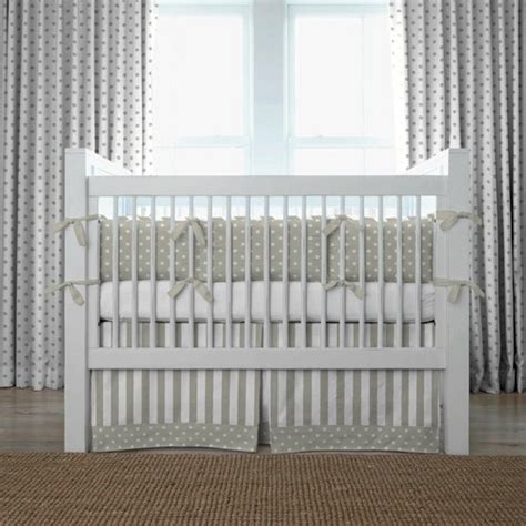 Crib Bedding Modern by Taupe And White Dots And Stripes Modern Baby Bedding