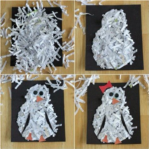 How To Make Paper Logs From Shredded Paper - shredded paper penguin penguin craft ideas