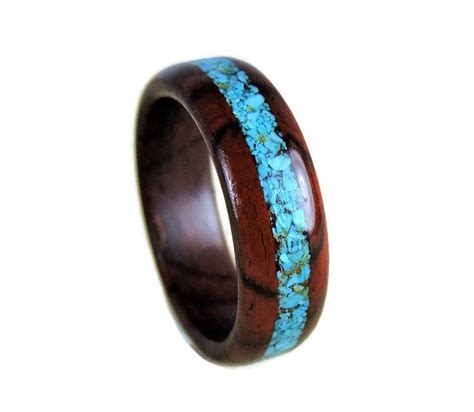 Handmade Bands - wood ring cocobolo and turquoise ring turquoise ring
