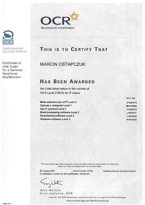 Information Technology Service Level Agreement Template certificate ocr nvq level 2 for it users