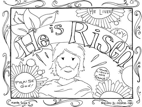 free printable easter coloring pages for sunday school he is risen coloring pages