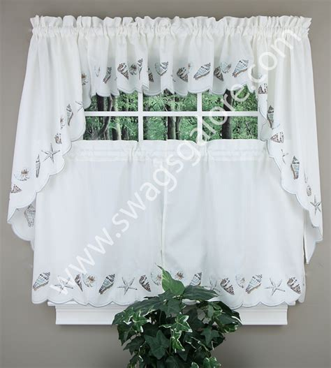 curtains with seashells seashells kitchen curtain tier pair sea mist rhf