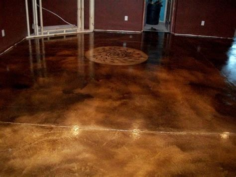 acid stain floor basement makeover home inspirations