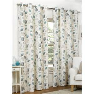 Teal Patterned Curtains Leaves Eyelet Lined Curtains Teal 173 X 137cm At Wilko