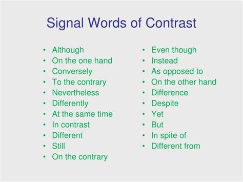 definition pattern signal words ppt signal words patterns of organization powerpoint