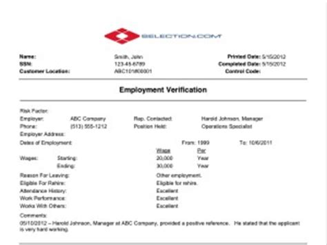 Credit Background Check For Employment Employment Verification Check Selection