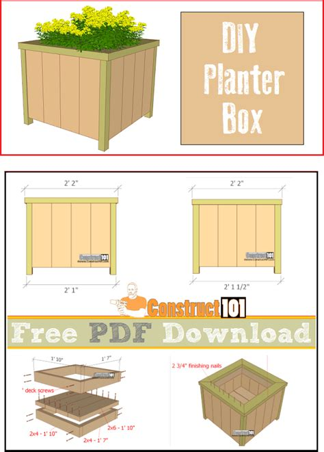 planter design planter box plans pdf download construct101