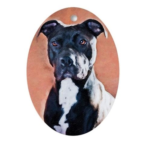 pit bull christmas ornament oval by tylerdog