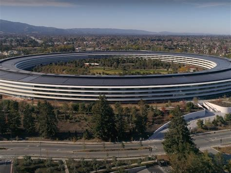 apple park drone footage shows apple park does in fact look like a