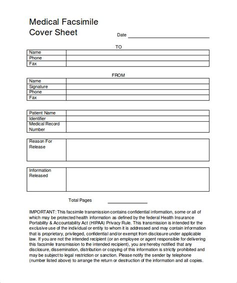 free printable medical fax cover sheet 8 medical fax cover sheet templates free sle