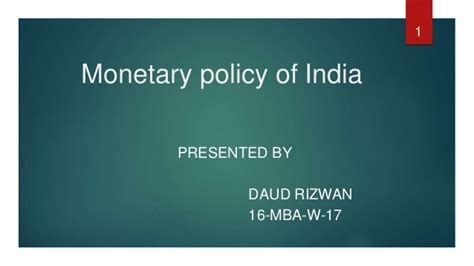 Policy Mba India by Monetary Policy Of India