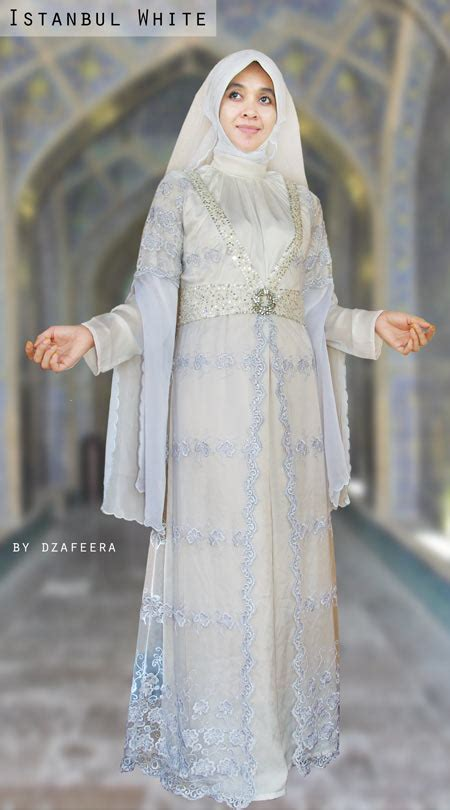 desain baju nikah muslimah koleksi gambar baju pengantin muslim modern putih elegan