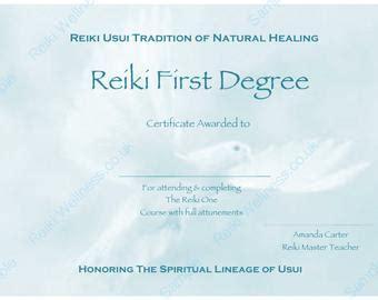 reiki certificates etsy