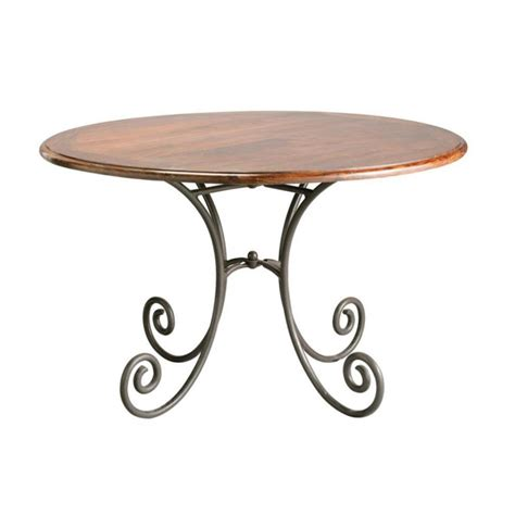 Wrought Iron And Wood Dining Table Solid Sheesham Wood And Wrought Iron Dining Table D 120cm Lub 233 Maisons Du Monde