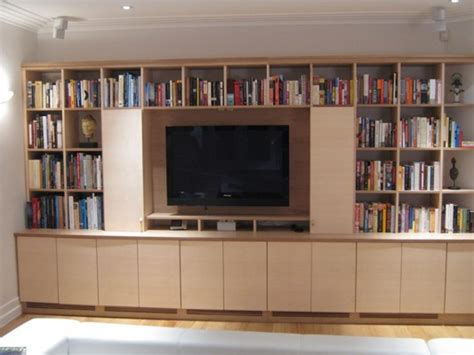 tv cupboard and bookshelves