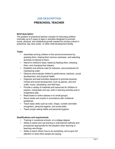 preschool description template sle form biztree