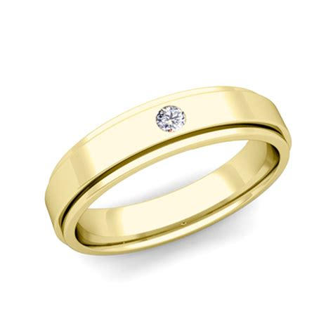 mens gold comfort fit wedding bands solitaire diamond mens wedding ring in 18k gold comfort