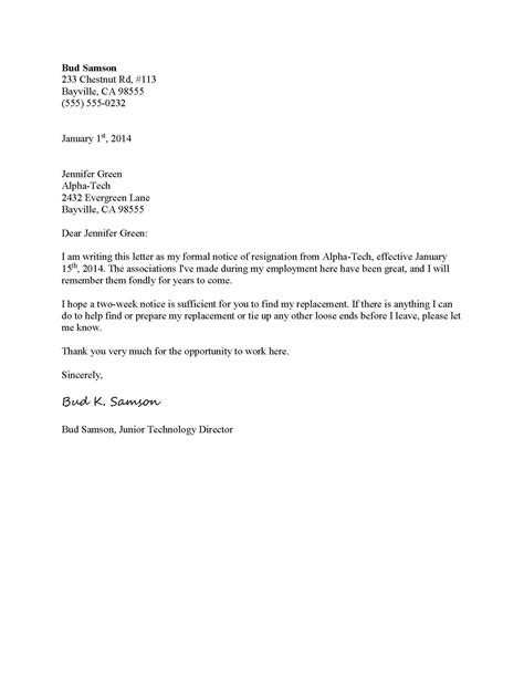 template resignation letter 2 week notice letters email two weeks