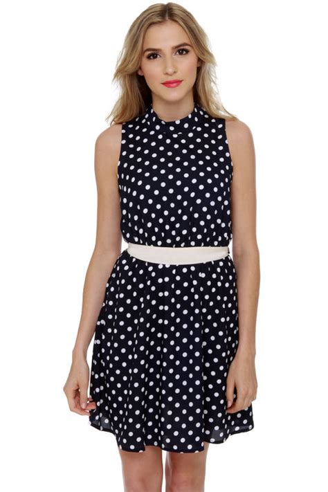 Dress Navy Polkadot polka dot dress navy blue dress sleeveless dress