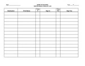 Sign Out Log Template by Visitor Sign In Sign Out Log Sheet Forms And