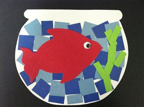 Toddler Crafts With Construction Paper - construction paper mosaic fish pre k