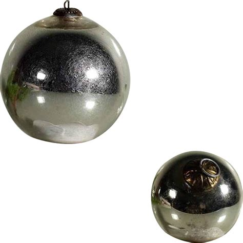 german kugel pair christmas mercury silver color glass